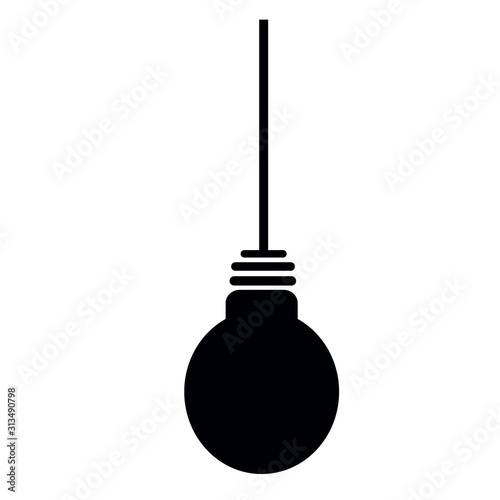 Fototapeta Lightbulb icon. Light bulb black pictogram. Modern flat design vector illustration obraz na płótnie