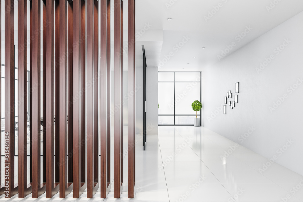 Fototapeta Contemporary empty office interior with abstract wooden wall
