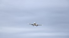 Classic Shot Jumbo Jet Flying Directly Overhead And Out Fo Frame Reagan National Airport In Washington D.C.