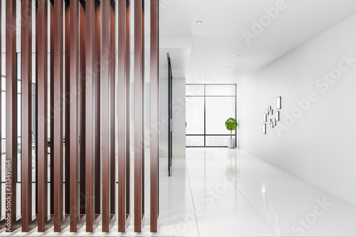 Obraz Contemporary empty office interior with abstract wooden wall - fototapety do salonu
