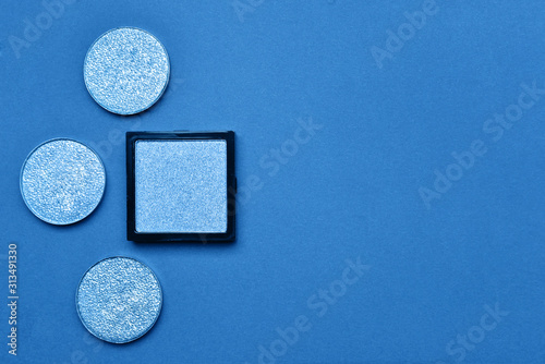 Fototapety, obrazy: Set of blue makeup cosmetics on color background