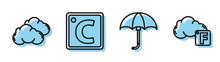 Set Line Classic Elegant Opened Umbrella, Cloud, Celsius And Fahrenheit And Cloud Icon. Vector