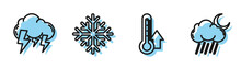 Set Line Thermometer, Storm, Snowflake And Cloud With Rain And Moon Icon. Vector