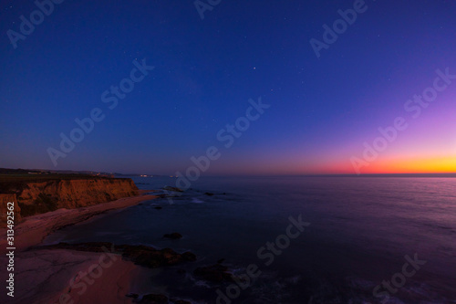 Dusk off the coast of Half Moon Bay, Northern California with the clifflike and beach and the pink glow in the sky