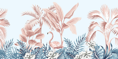 Panel Szklany Podświetlane Drzewa Tropical vintage botanical landscape, pink palm tree, banana tree, blue plant, pink flamingo floral seamless border grey background. Exotic jungle animal wallpaper.