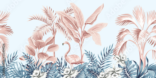 Tropical vintage botanical landscape, pink palm tree, banana tree, blue plant, pink flamingo floral seamless border grey background. Exotic jungle animal wallpaper.