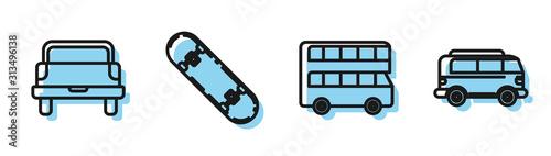 Fotografie, Tablou  Set line Double decker bus, Pickup truck, Skateboard and Retro minivan icon