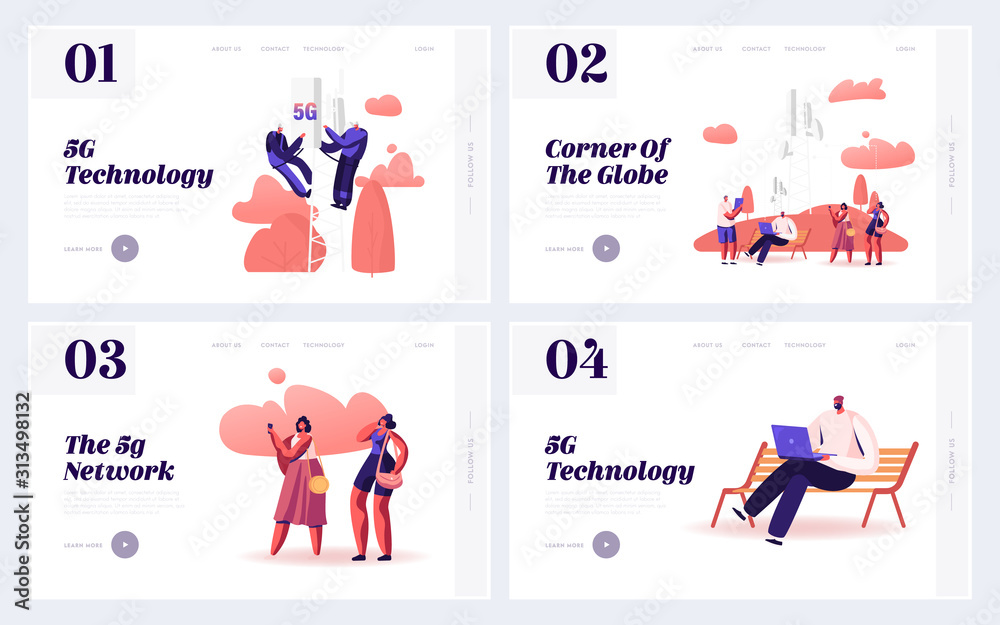 Fototapeta 5g Networks Global Technologies Website Landing Page. People Using New Generation of Connection for Gadgets. Workers Install Equipment for Internet Web Page Banner. Cartoon Flat Vector Illustration