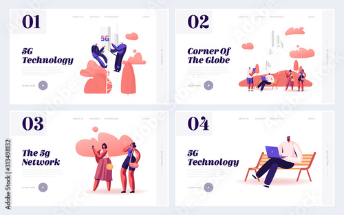 Obraz 5g Networks Global Technologies Website Landing Page. People Using New Generation of Connection for Gadgets. Workers Install Equipment for Internet Web Page Banner. Cartoon Flat Vector Illustration - fototapety do salonu