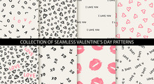 Set Of 8 Elegant Seamless Patterns With Hand Drawn Decorative Hearts, Design Elements. Romantic Patterns For Wedding Invitations, Greeting Cards, Scrapbooking, Print, Gift Wrap. Valentines Day