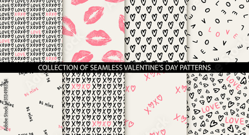 Fotomural Set of 8 elegant seamless patterns with hand drawn decorative hearts, design elements