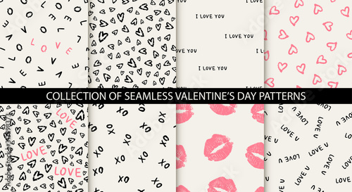 Vászonkép Set of 8 elegant seamless patterns with hand drawn decorative hearts, design elements