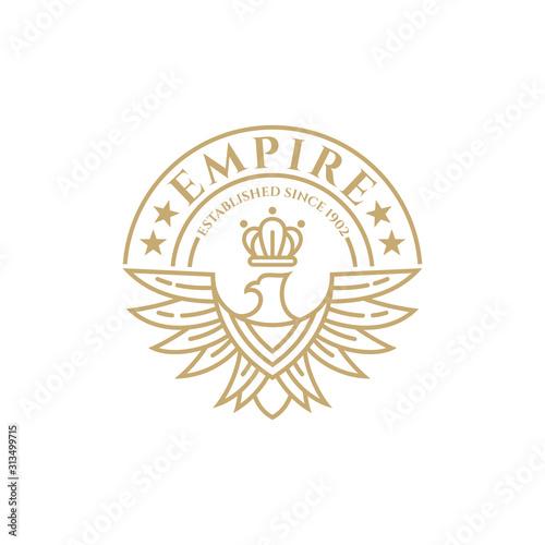 Fotografija Eagle crown vintage emblem/badge logo design, Luxury line art logo element, King