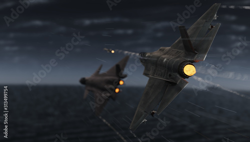Fotografie, Tablou American military advanced jet fighter locked and fired a missle toward chinese