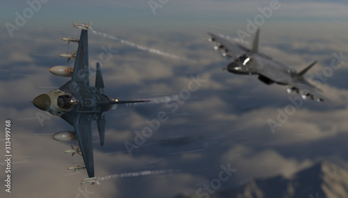 American airforce jet followed by russian military stealth jet dogfight scene 3d Wallpaper Mural