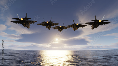 f35 jets flypast formation over the ocean low attitude flying 3d render Canvas Print
