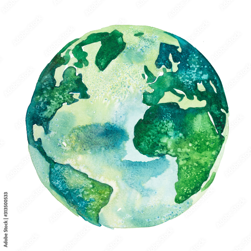 Fotografie, Obraz Earth planet. View of America and Africa drawn in green colors