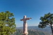 Taxco city lookout with Jesus Christ monument (Cristo Rey) overlooking scenic hills and historic city center