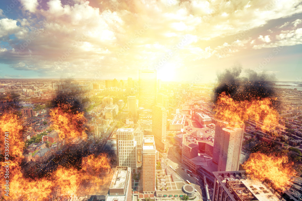 Fototapeta A concept of a city being hit by a weapon of mass destruction suffering terrible consequences caused by terrorism or an act of war by a hostile country launching a devastating attack with atomic bomb