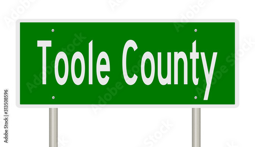 Rendering of a green 3d highway sign for Toole County Canvas Print