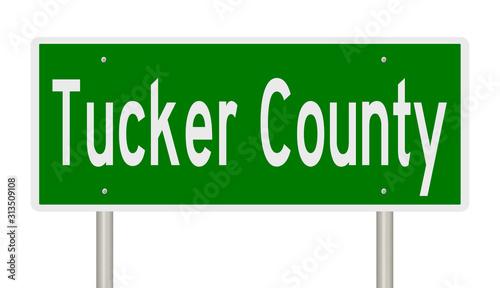 Fényképezés Rendering of a green 3d highway sign for Tucker County