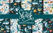 Seamless Vector Pattern Set With Cute Cartoon Funny Shark Fish In A Flat Style. Cheerful Kid Underwater Fabric Background Collection. Baby Shark Doo Doo Doo.