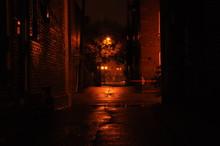 Dimly Lit Street At Night