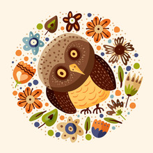 Cute Cartoon Vector Owl Round Card In A Flat Style. Wild Night Bird Postcard With Floral Botanical Elements And Flowers.