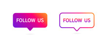 Button Follow Us On White Back...