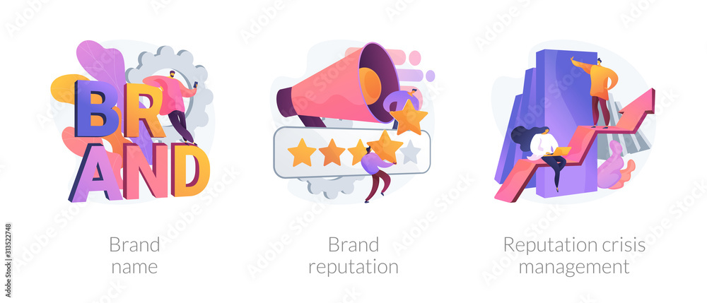 Fototapeta Building brand marketing strategy. Product awareness and recognition campaign. Brand name, brand reputation, reputation crisis management metaphors. Vector isolated concept metaphor illustrations.