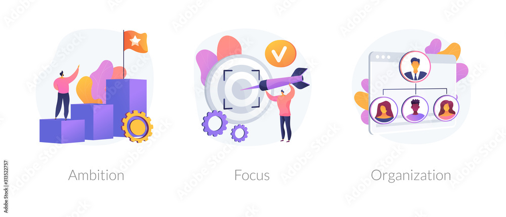Fototapeta Business determination and development. Self improvement, marketing target, corporate management. Ambition, focus, organization metaphors. Vector isolated concept metaphor illustrations.