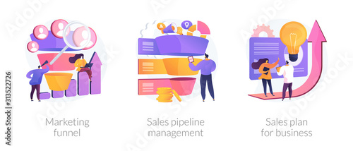 Customer engagement. Sales conversions and traffic increase strategies. Marketing funnel, sales pipeline management, sales plan for business metaphors. Vector isolated concept metaphor illustrations. - fototapety na wymiar