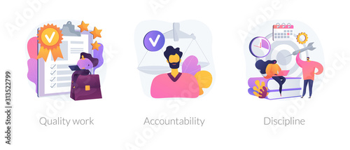 Task and project management icons set. Leadership, career goals and perspectives. Quality work, accountability, discipline metaphors. Vector isolated concept metaphor illustrations.