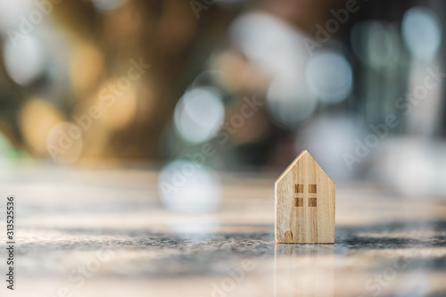 Wood house model on  wood background, a symbol for construction , ecology, loan, mortgage, property or home Wallpaper Mural