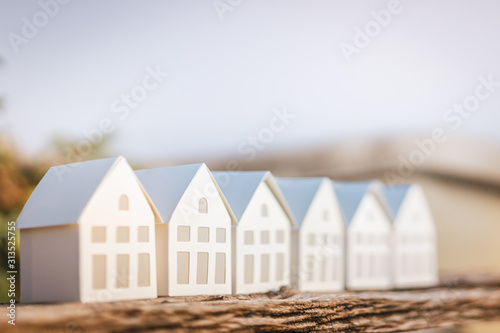 Paper house model on  wood , a symbol for construction , ecology, loan, mortgage, property or home Wallpaper Mural