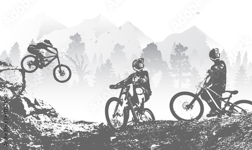 Photo Downhill mountai biking freeride and enduro illustration