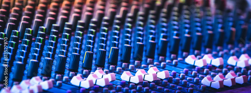 Fototapeta audio mixing console , In sound recording and reproduction, and sound reinforcement systems, a mixing console is an electronic device for combining sounds of many different audio  obraz