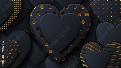 Obraz Valentines Day background with black hearts and gold pattern. Gold luxury cover on dark background. Black holidays poster, card, add, header, website, article for valentines day. - fototapety do salonu