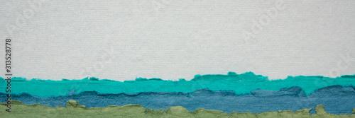 abstrakcyjny krajobraz stworzony ręcznie z indyjskiego papieru