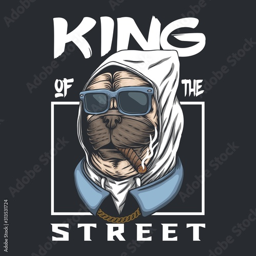 Photo Pug dog king of the street vector illustration
