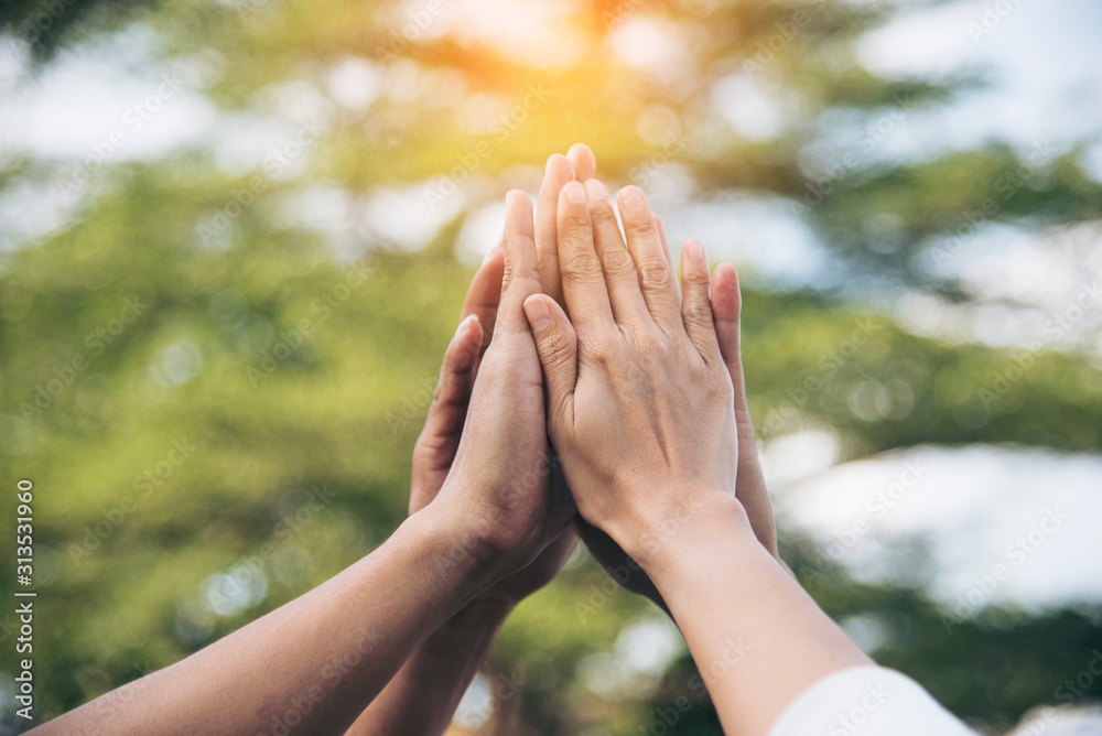 Fototapeta Team High five teamwork working together diverse hands up show power of tag team. Hands of multiethnic diversity people togetherness volunteer. Collaborate business team success concept