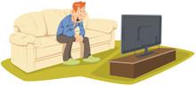 Man Watches TV. Vector. Stock Illustration.