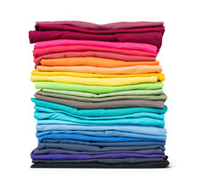 Stack Of Colorful T-shirt Isolated On White Background. File Contains A Path To Isolation.