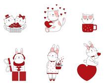 Hand Drawn Valentines Day. Cartoon Sketch The Cute Posture Baby Animals