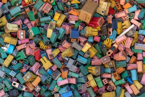 many color and size of automobile fuse for recycling. Wallpaper Mural