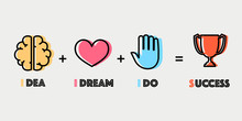 Key Of Success Concept Icons.