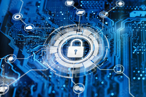 Fototapeta Cybersecurity and secure nerwork concept. Data protection, gdrp. Glowing futuristic backround with lock on digital integrated circuit. obraz na płótnie