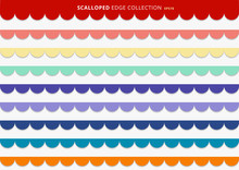 Set Of Colorful Scallops Stripes Seamless Repeat Pattern Geometric Design On White Background.