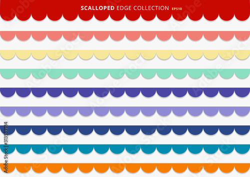 Fototapeta Set of colorful scallops stripes seamless repeat pattern geometric design on white background. obraz