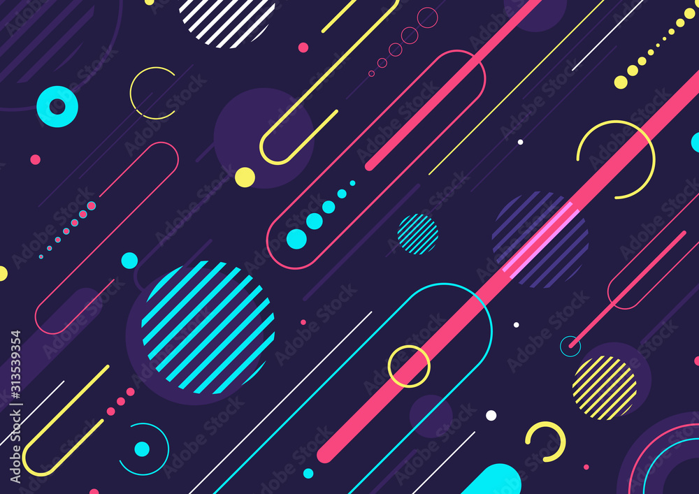 Fototapeta Creative abstract dynamic geometric elements pattern design and background.